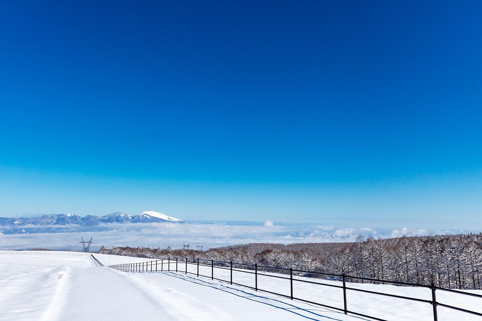 真っ白な牧場と雲海に浮かぶ浅間山