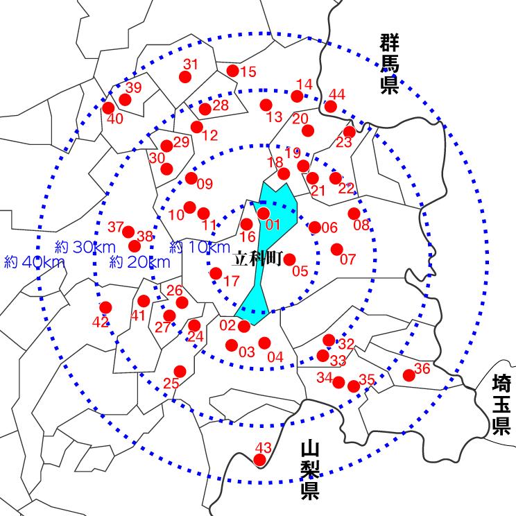 立科町とその周辺の日帰り温泉マップ
