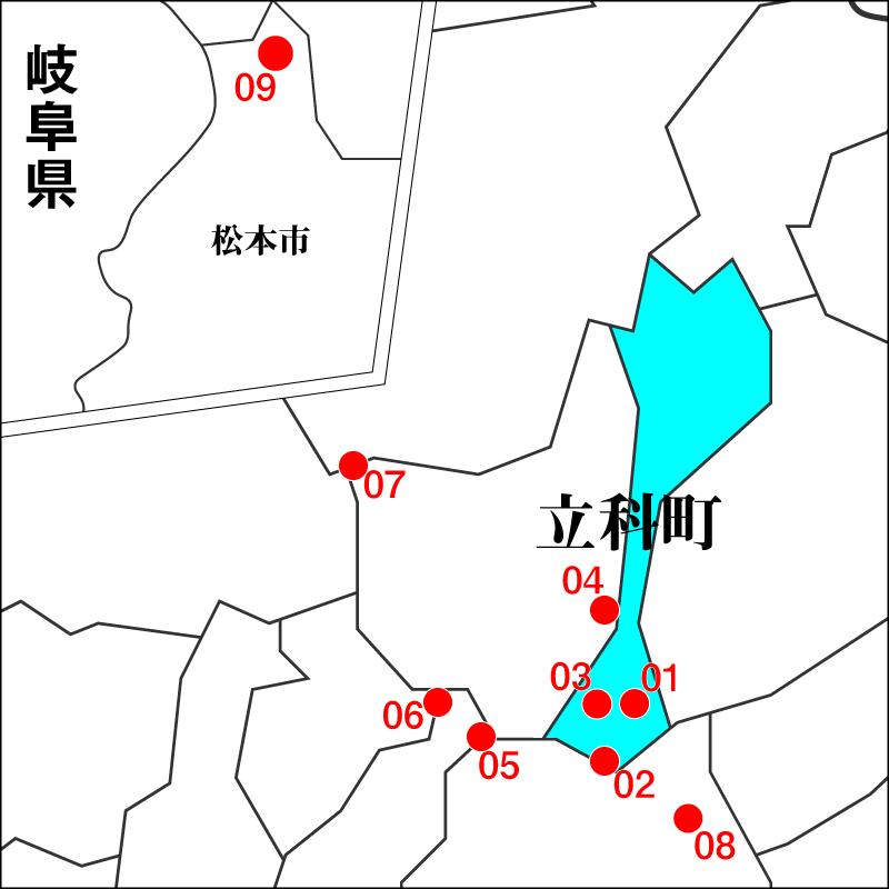 信州たてしな周辺のスノーハイクポイントマップ