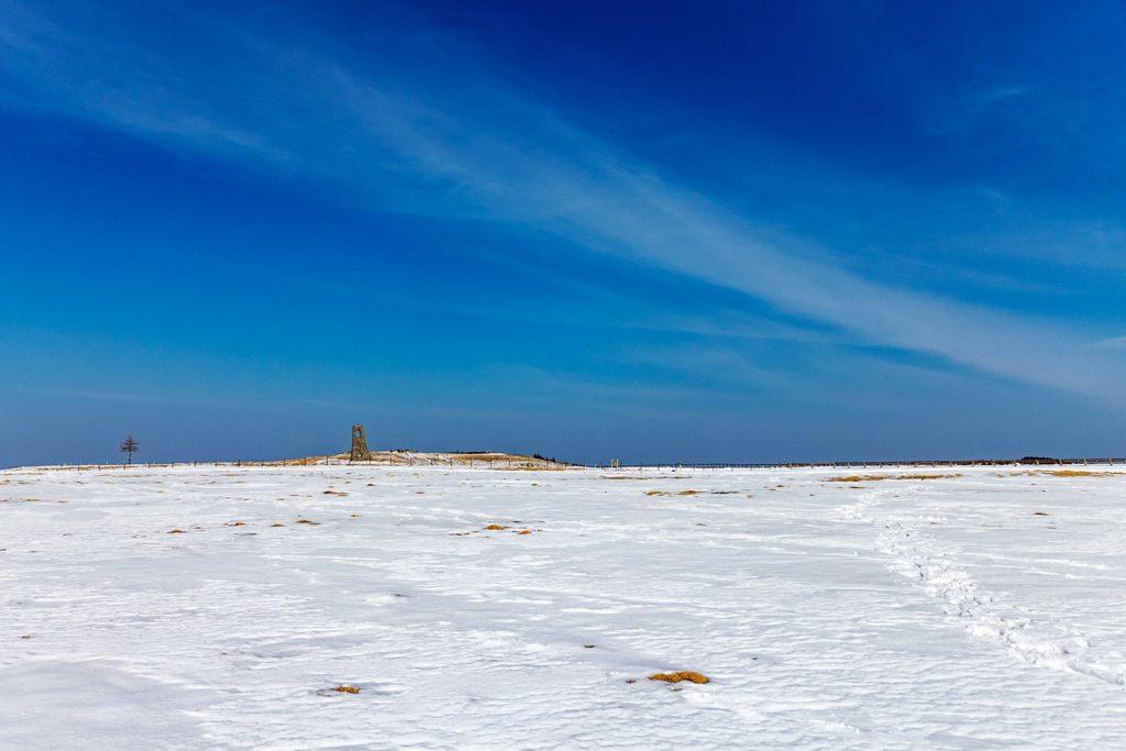まっしろな雪原に建つ美しの塔。