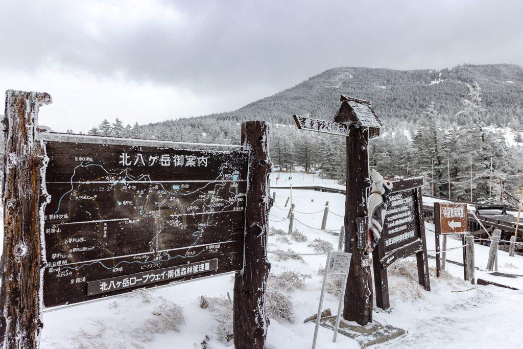 北横岳へのアクセスに使うロープウェイ山頂駅前には坪庭がある。