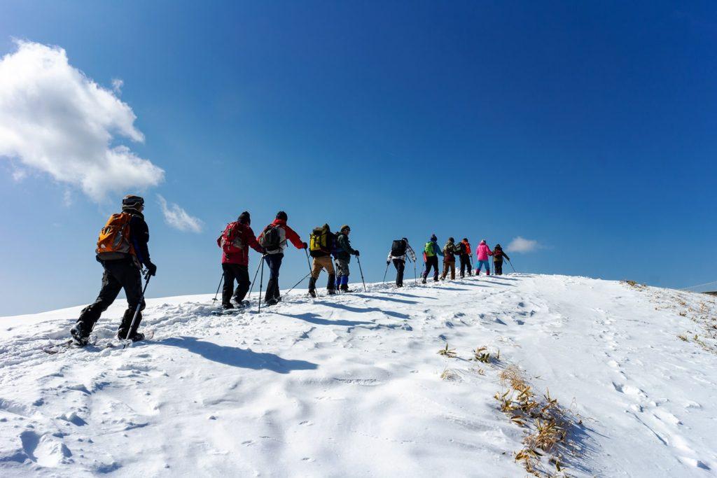 真っ青な美しい空と真っ白な雪原の境目を歩く八子ヶ峰スノーハイクコース
