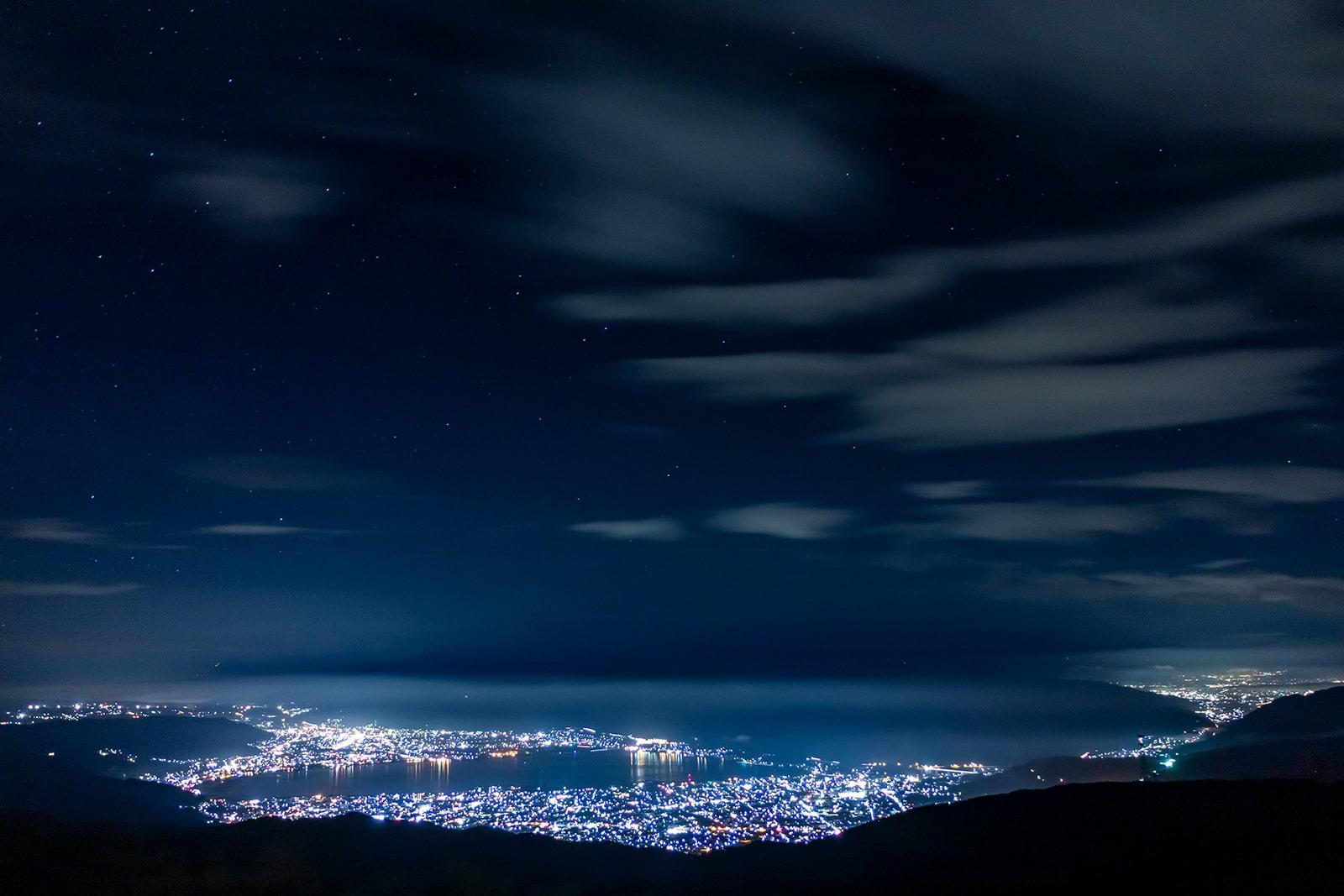 信州長野でも特に人気の夜景スポット高ボッチ高原の南には素晴らしい景色が広がる