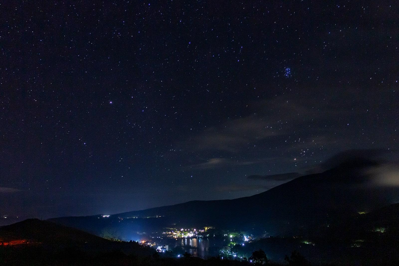 白樺湖と蓼科山と星空を見ることができる白樺湖展望台