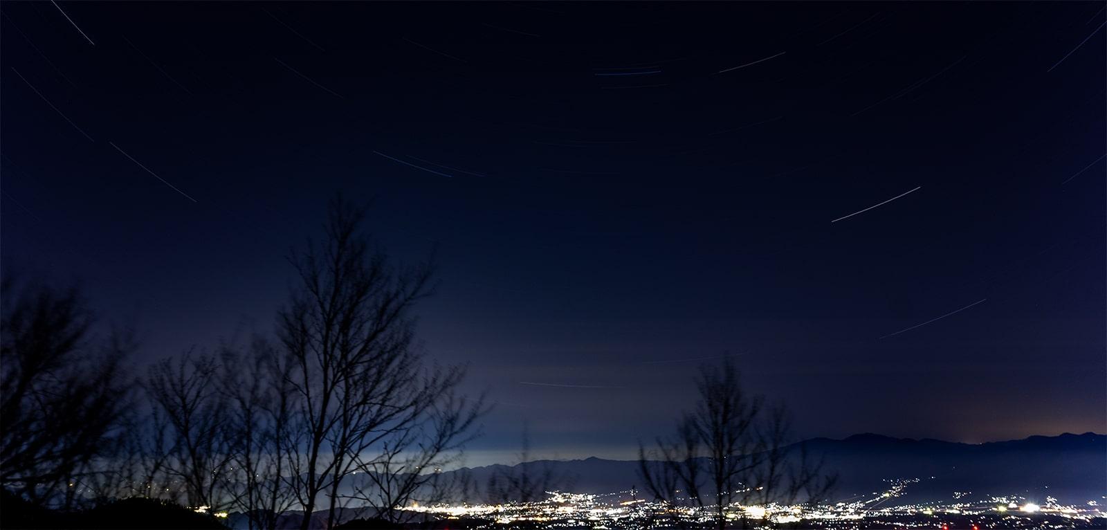 大河原峠から見る夜景と星空