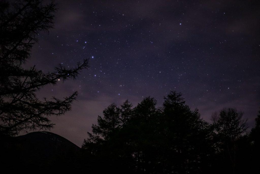 御泉水自然園の中からも美しい星空は堪能できます。