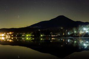 2020年11月11日、白樺湖畔からの星空。穏やかな白樺湖の湖面に映り込むプレアデス星団。