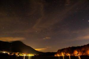2020年11月15日、女神湖畔からの星空。湖面越しに見る蓼科山と星空