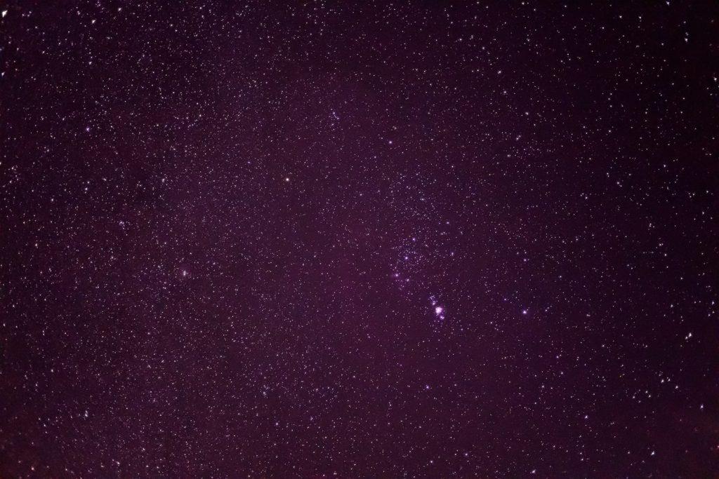 白樺高原から見たオリオン座を含む星空