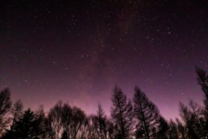 2020年12月3日、蓼科山七合目登山口からの星空。天の川のかかる西の空にはわし座やこと座が見える。