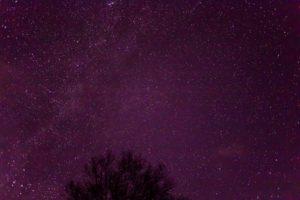 2020年12月8日、蓼科第二牧場からの星空。天の川とカシオペア座。