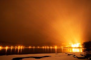 2020年12月16日、女神湖畔からの夜空。