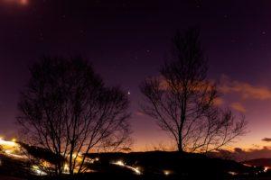 2020年12月19日、夕陽の丘公園からの星空。間近になった木星と土星の超接近。