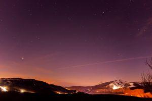 2020年12月23日、夕陽の丘公園からの星空。徐々にはなれてゆく木星と土星。