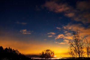 2020年12月31日、三望台からの星空と夜景。2020年大晦日、最後の月の出と星空。
